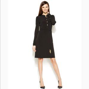 Calvin Klein Long Sleeve Shirt Dress Black Sz 10